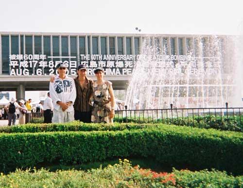 Slim & Baz at the 60th anniversary of the atomic bomb blast at Hiroshima.