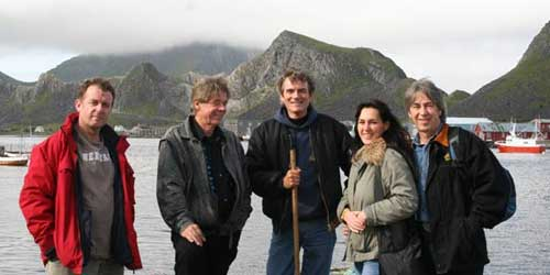 Slim, Faye & Baz go on a hell-for-leather jet-raft tour with British blues duo Jay Stapleton (left) and Ian Hunt (centre).